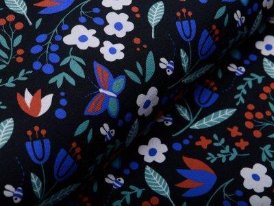 Sweat French Terry Swafing Meadow by Käselotti - Blumenwiese und Schmetterlinge - schwarz
