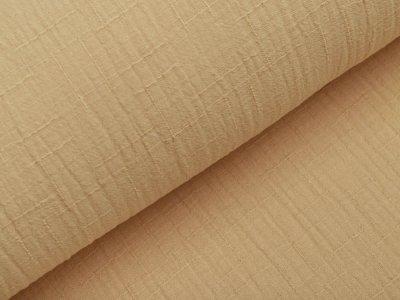 Bambus Musselin Baumwolle Double Gauze Snoozy - Leinenoptik - uni dunkles sand
