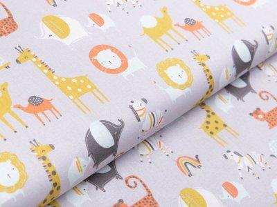 Webware Baumwolle Popeline by Poppy - verschiedene Zootiere - grau