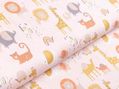 Webware Baumwolle Popeline by Poppy - verschiedene Zootiere - rosa