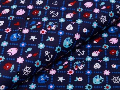 Webware Baumwolle Popeline - Fische und Anker - nachtblau