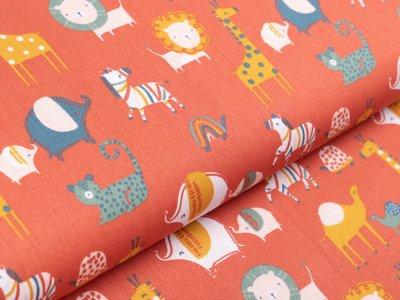 Webware Baumwolle Popeline by Poppy - verschiedene Zootiere - terrakotta