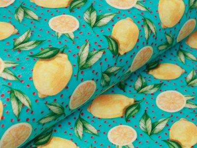 Jersey Digitalprint Stenzo - Zitronen auf Punkten - türkis