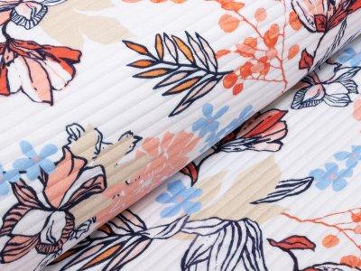KDS Queen's Collection Cora - italienischer Jersey mit haptischen Streifen - pastelliger Dschungel - weiß