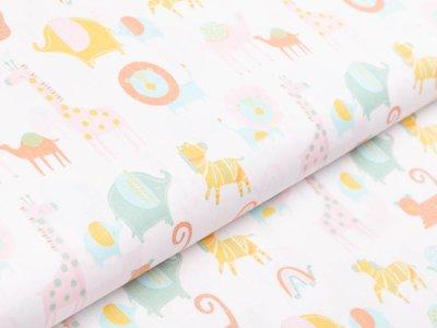 Webware Baumwolle Popeline by Poppy - verschiedene Zootiere - wollweiß
