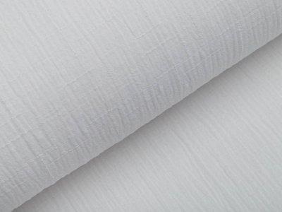 Bambus Musselin Baumwolle Double Gauze Snoozy - Leinenoptik - uni weiß