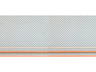 KDS Queen's Collection Olivia - Bordüren-PANEL ca. 90cm x 160cm - Jersey Viskose - Federn- & Blumenmuster - weiß