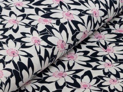 KDS Queen's Collection Jersey Viskose - Blumenwiese - nachtblau/weiß/rosa