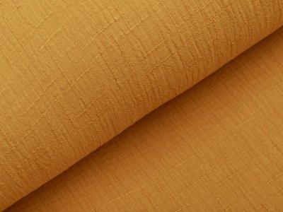 Bambus Musselin Baumwolle Double Gauze Snoozy - Leinenoptik - uni ocker