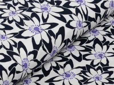 KDS Queen's Collection Jersey Viskose - Blumenwiese - nachtblau/weiß/lila