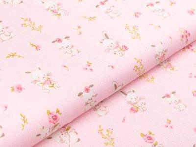 Webware Baumwolle Popeline by Poppy - niedliche Häschen - rosa