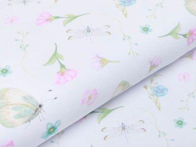Jersey KATINOH Lovely - verschiedene Schmetterlinge - weiß