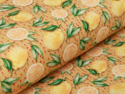 Jersey Digitalprint Stenzo - Zitronen auf Punkten - ocker