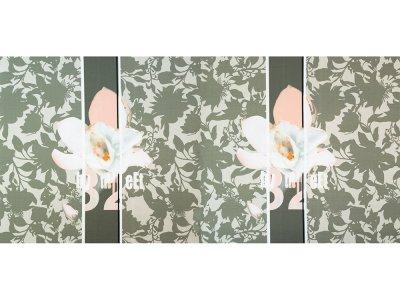 KDS Queen's Collection Olivia - Jersey Viskose PANEL ca. 160cm x 75cm - Orchidee und Schrift auf Blättern - olive