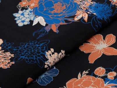 KDS Queen's Collection Hana - Webware Viskose - Blumenmuster - schwarz