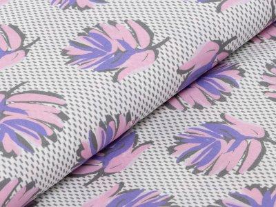 KDS Queen's Collection Rosalina - Webware Viskose - fallende Blätter auf Strichen - weiß