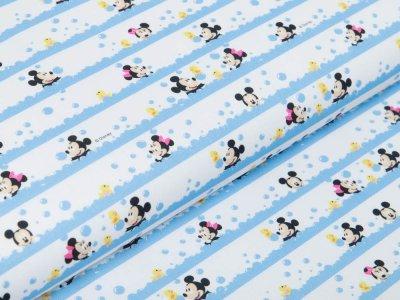 Webware Baumwolle Disney Mickey Mouse - Minni und Mickey im Blubberbad - weiß