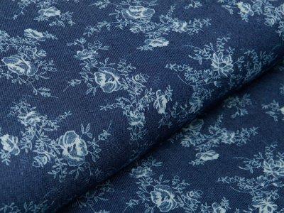 Elastischer Jeansstoff - Blumenmuster - jeansblau