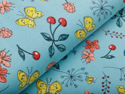 Jersey - Schmetterlinge und Blumen - mint