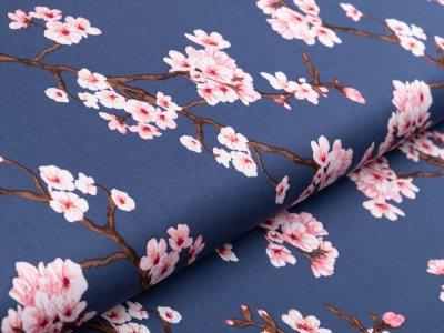 Viskose elastische Webware - Rosella by Penelope - Kirschblüten - jeansblau