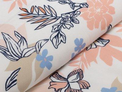 KDS Queen's Collection Cora - Webware Popeline Viskose - pastelliger Dschungel - weiß