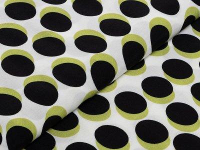 KDS Queen's Collection Kivi - Webware Viskose - versetzte Punkte - weiß/grün/schwarz