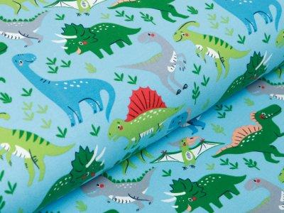Sweat French Terry - fröhliche Dinos - aqua