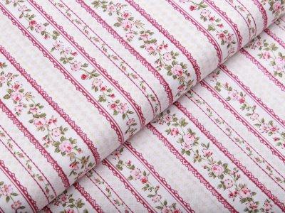 Webware Baumwolle Patchwork - Rosen und Streifen - wollweiß
