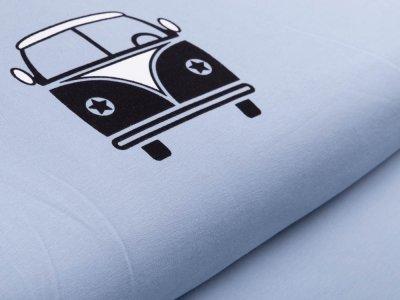 Jersey Digitaldruck Stenzo PANEL ca. 65 x 150 cm - Bulli mit Straße - blau