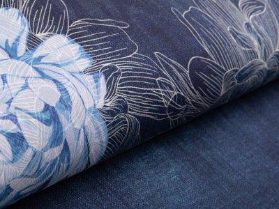 Jersey Digitaldruck Stenzo PANEL ca. 150 x 150 cm - Blumen - jeansblau