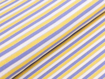 KDS Queen's Collection Rippstrick Jersey - Streifen - creme/lila/gelb