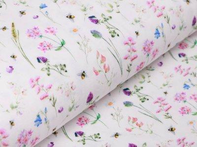 Jersey Digitaldruck - Hummeln und Blumen - wollweiß
