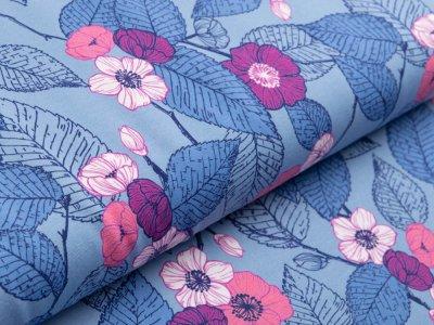 Jersey Avalana - Blumen und Blätter - graublau