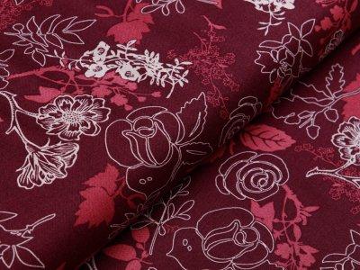 Webware Baumwolle Patchwork - Blumen - bordeaux