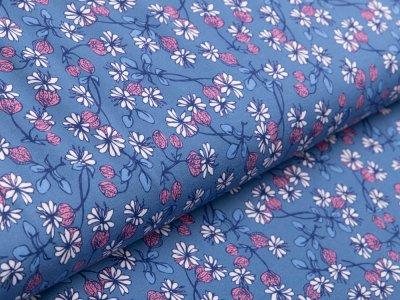 Jersey Avalana - Blumen - jeansblau