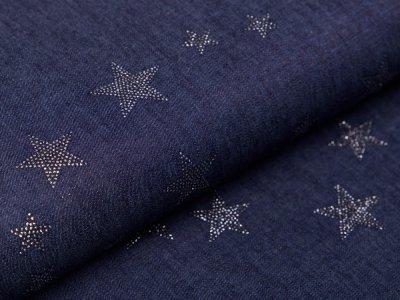 Leichter Jeansstoff mit Glitzer - Sterne - jeansblau