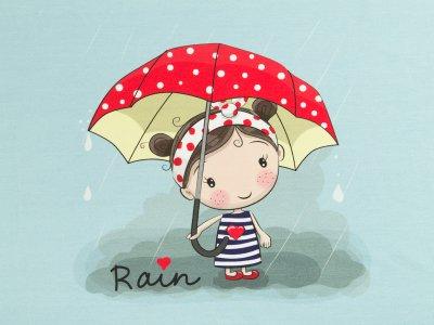 Jersey Eigenproduktion KDS - Happy Rain - 50 cm x 75 cm Panel