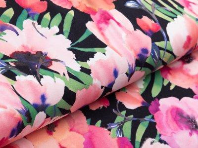 Jersey Avalana - Blumen und Blätter - schwarz