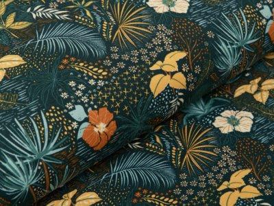Jersey - zarte Blätter und Blumen - grün
