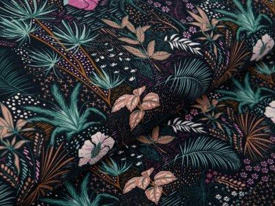 Jersey - zarte Blätter und Blumen - schwarz