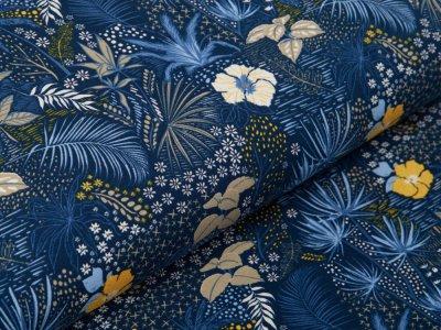 Jersey - zarte Blätter und Blumen - marine