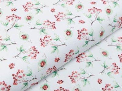 Webware Baumwolle Popeline - Marienkäfer auf Blättern - weiß