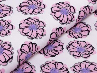 KDS Queen's Collection Rosalina - Webware Viskose - diagonal angeordnete Blüten - weiß/rosa