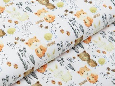 Webware Baumwolle Popeline - kleine Waldtiere - weiß