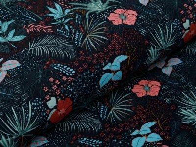 Jersey - zarte Blätter und Blumen - schwarz/rosa
