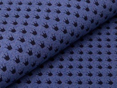 Sweat French Terry - Kronen - meliert jeansblau