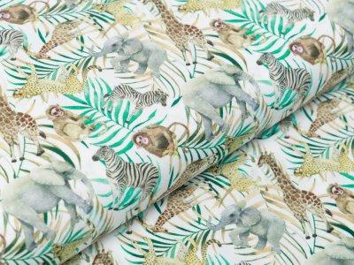 Webware Baumwolle Popeline - Giraffen und andere Dschungeltiere - weiß