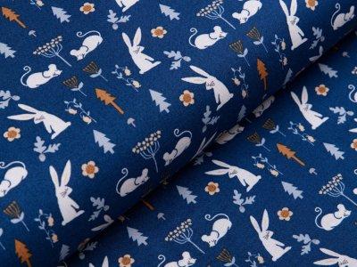Webware Baumwolle Patchwork - Hasen und Mäuse - blau