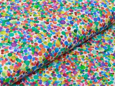 Webware Baumwolle Popeline - buntes Konfetti - weiß