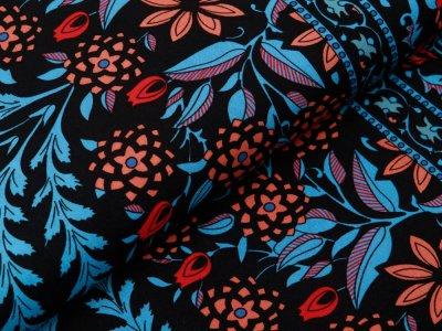Webware Viskose Bordürenstoff - Blüten und Blätter - schwarz